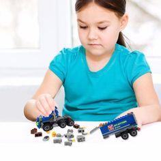 Kids Boys DIY Transport Truck Minifigures Educational Toy Building Blocks Bricks #Unbranded