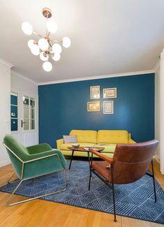 Le salon bleu canard en décoration Blue Rooms, Decor Styles, Wordpress, Backyard, Couch, Living Room, Interior Design, School Hairstyles, Inspiration