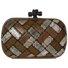 Bottega Veneta Ltd Ed Patchwork Multi Exotic Skin Knot Bag