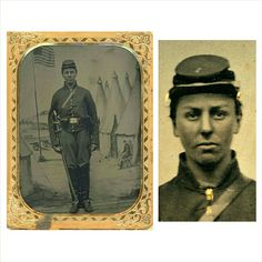 """Quarter plate tintype of a FEMALE cavalry soldier. Numeral """"1"""" is pinned to the top of her cap. Fully outfitted in a complete cavalry ensemble and standing before a magnificent patriotic backdrop. The breast of her jacket clearly protrudes outward and her facial features and neck certainly appear feminine in nature. Unfortunately she is not identified. While the number of female soldiers which served during the war are unknown I think we can say with certainty that there was at least one."""