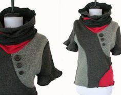 Asymmetric Patchwork Sweater M - this would be cute to do with sweatshirts