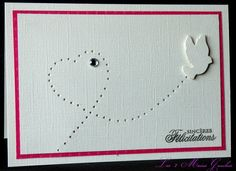 une colombe un coeur un strass une - Carte Flicitation Mariage