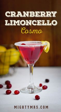Cranberry Limoncello Cosmo - A refreshing fun and easy happy hour or girl's night cocktail! The pretty pink color makes it a perfect drink for baby or wedding showers too. This recipe uses lemoncello vodka and cranberry juice with a sugar rim so it's no Christmas Drinks, Holiday Drinks, Party Drinks, Summer Drinks, Cocktail Drinks, Fun Drinks, Beverages, Cocktails With Grenadine, Happy Hour Drinks