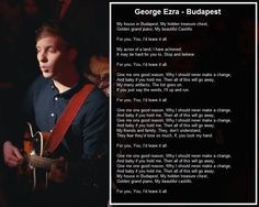 George Ezra and the lyrics to his hit single 'Budapest'