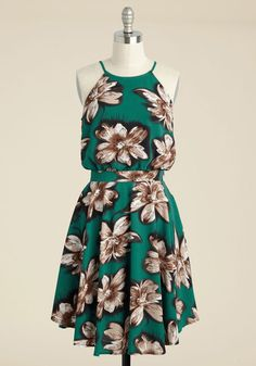 That's My Jam Floral Dress in Jade | Mod Retro Vintage Dresses | ModCloth.com