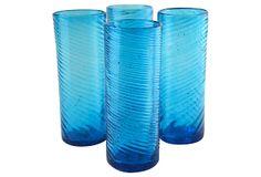 Turquoise Swirl Tumblers, Set of 4 on OneKingsLane.com