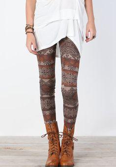 Aztec Print Knit Leggings on Wanelo