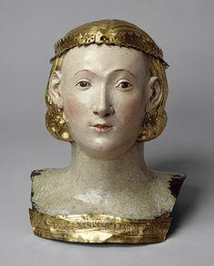 Reliquary Bust of Saint Juliana, ca. 1376  Circle of Giovanni di Bartolo  Italian  Copper, gilding, gesso, and tempera paint