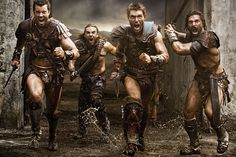 Agron (Dan Feuerriegel), Gannicus (Dustin Clare), Spartacus (Liam McIntyre) and Crixus (Manu Bennett) - promo shot for Spartacus: War of the Damned.