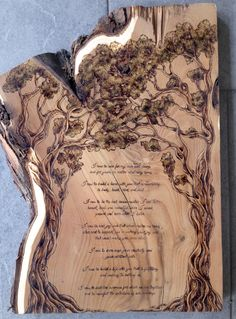I recently completed a very special commission for my bandmate. These are his wedding vows, written by him and his wife, woodburned onto a beautiful piece of russian olive I had lying around. What an honor!