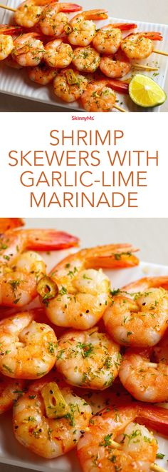 Great Shrimp Skewers with Garlic-Lime Marinade – Juicy, succulent perfection! The post Shrimp Skewers with Garlic-Lime Marinade – Juicy, succulent perfection! appeared first on Recipes . Seafood Recipes, Dinner Recipes, Cooking Recipes, Healthy Recipes, Grilled Shrimp Recipes, Sauteed Shrimp, Shrimp Pasta, Grilled Salmon, Grilled Chicken
