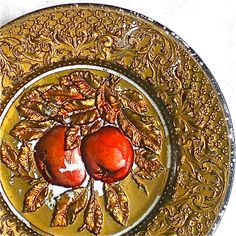 Goofus Glass, Apples, Plate, Red, Gold, Vintage Plate, Ornate,1900's. $16.00, via Etsy.