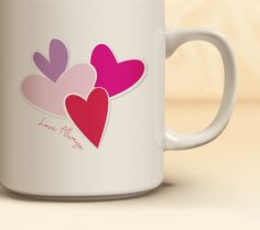 Four Hearts Valentine's Day Coffee Mug | Quick Ship! Four Hearts Mug | Coffee Mug Available in 11 oz., 15 oz. | Valentine's Day Gift Idea