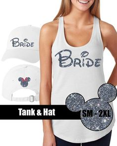 GLITTER Disney Bride Tank and Hat // Disneyland Shirt // Disney Vacation Family Shirt // Disney Wedding (69-G-33) Silver and Pink Glitter