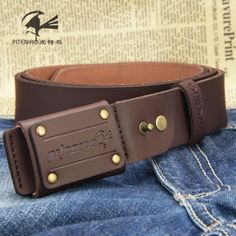 13 euro incl shipping Bird metal strap anti allergic male genuine leather agings belt all match trousers belt freeship dropship-inLeather Clothing from Apparel &...