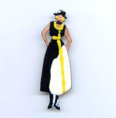 "Vtg 1970s Enamel Copper Figural Deco Fashion Model Lady Dress Brooch Pin 3"" #MadeinTaiwan"