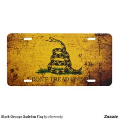 Don't Tread on Me - Black Grunge Gadsden Flag  - Car Floor Mats License Plates, Air Fresheners, and other Automobile Accessories