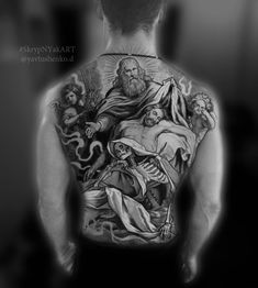 Hi friends . We have a cool project for your large-scale exclusive tattoo. in the future i will be in LA. If you need it ! Write me booking ✔️ ⭕️PREPAID ONLY 💳💰 #YavtushenkoDmitriy #SkrypNYakART #tattoodo #tattoo #youangel #religiontattoo #blackgraytattoo #culturatattoos #bishoprotary #thankyou Religion Tattoos, Bishop Rotary, Grey Tattoo, Tattoo Sketches, Religious Tattoos