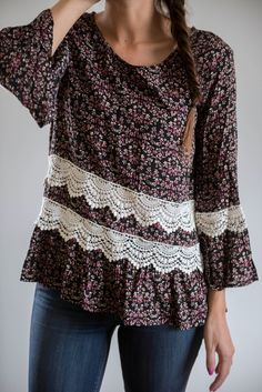 The Shawnie Blouse in Black Floral PINTEREST PAL -BF FOR YOUR BF
