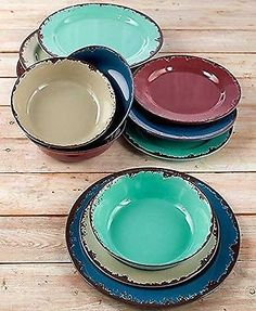12-Pc. Rustic Melamine Dinnerware Set NEW