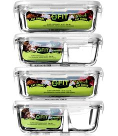 Glass Meal Prep Containers (4 Pack) - 1 & 2 Compartment Containers | Food Storage Containers with Lids | Glass Tupperware Set | Food Prep Containers | Bento Lunch Box | Portion Control #MealPrep  #healthy