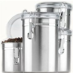 Anchor Hocking 4pc SS Canister Set Clear Lids Small Appliances