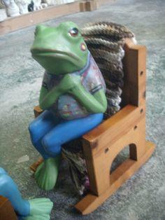 Ceramic Frog Mr. frog yard ornament patio by MapleHillCeramics