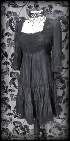 Gothic Victoriana Black Silk Lace Bib Tea Dress 10 Romantic Victorian Vintage | THE WILTED ROSE GARDEN on eBay // Worldwide Shipping Available