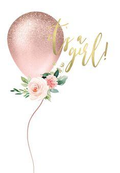 Baby Girl Invitations, Baby Shower Invitation Templates, Baby Shower Templates, Baby Shower Greetings, Theme Mickey, Glitter Balloons, Baby Shower Invitaciones, Baby Shower Balloons, Baby Balloon