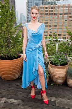 627ee075b29 Rosie Huntington-Whiteley Asymmetrical Sky Blue Velvet Cocktail ...