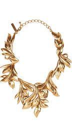 Oscar de la Renta24-karat gold-plated leaf necklace