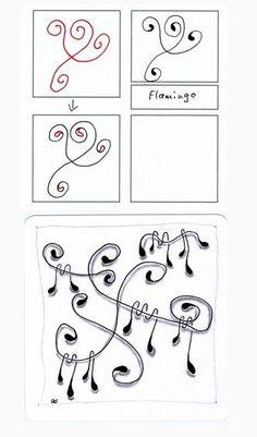 flamingo tangle pattern - Google Search