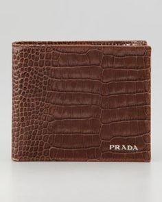 3191495e674 N21Y7 Prada Crocodile-Embossed Bi-Fold Wallet Brown - Prada Wallets - Ideas  of