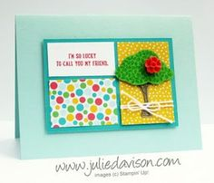 The Party Pop-Up Dies make it so easy to create fun, interactive cards. You can also cut the die cuts apart to use as the focal point on the front of the card. Here's a card that I created with the Hi