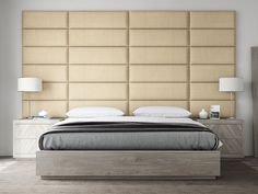 """Adding color, texture and interest to your bedroom isn't limited to bedding and upholstery when you know how to decorate with panels. Like this one from @vantpanels!  Layout: Twin - King Size Headboard  Color: Textured Cotton Weave Toasted Wheat  Size: 39"""" Wide x 11.5"""" Height"""