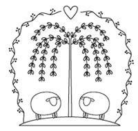 Folk art sheep embroidery pattern