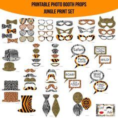 Amanda Keyt DIY Printable Photobooth Prop Sets and more! Giraffe Birthday Parties, Jungle Theme Birthday, Safari Theme Party, Jungle Party, 9th Birthday, Birthday Ideas, Diy Photo Booth Props, Photos Booth, Cheetah Party