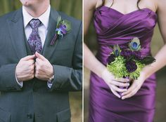 Peacock and purple wedding party