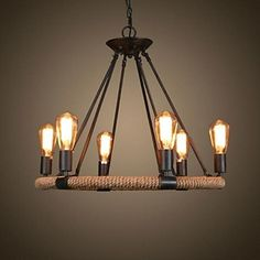 Chandelier Ambient Light Painted Finishes Metal Candle Style / Bulb Not Included / / Hallway Chandelier, Cheap Chandelier, Chandeliers, Rope Pendant Light, Pendant Lamp, Pendant Lights, Room Lights, Ceiling Lights, Glass Door Hinges