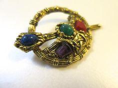 Celtic Sol D'Or Circle Brooch Irish British Penannular Brooch  Antiqued Gold Finish Blue Green Red Purple Stones Scepter