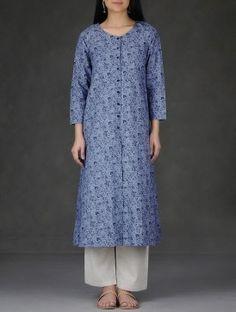 Blue Printed Front Slit Cotton Slub Kurta-XL