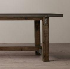 Reclaimed Wood & Zinc-Top Strap Rectangular Dining Table