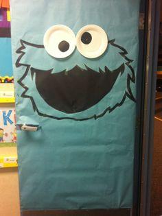 Classroom door decorating for Halloween. #CookieMonster