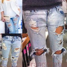 ALL SIZES plus custom tattered distressing grunge black blue jeans denim ripped destroyed MEN 28-46 distressed Women size 2-20