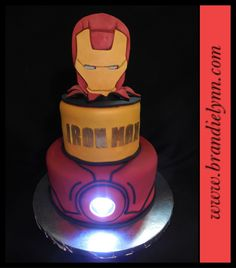 Iron Man cake with real Arc light