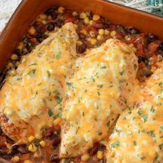 Easy Santa Fe Baked Chicken is a great week night dinner, only one pan to clean!  Serve with a side salad.