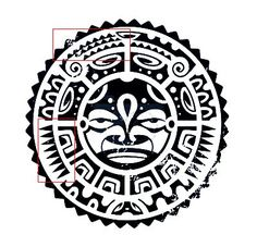 Illustration of tribal maori mask isolated on white.