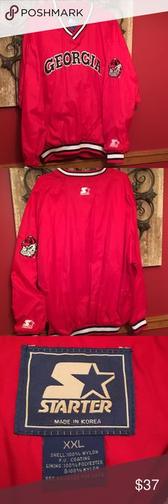 GEORGIA BULLDOGS pullover jersey Super warm for those chilly Georgia game days!  Ivory warm interior, red outer shell, bulldog on the sleeve, zipper on the side, and lined warm pockets!  LET'S GO DAWGS!! University of Georgia collegiate wear! Starter Jackets & Coats Bomber & Varsity