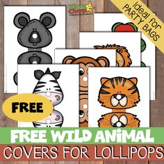 Wild animal lollipop covers for your kid. - We've got some fabulous wild animal lollipop covers for you kids' party bags designed to make t - Cute Wild Animals, Preschool Printables, Free Printables, Animal Tracks, Kids Board, Animal Wallpaper, Party Bags, How To Raise Money, Fun Activities