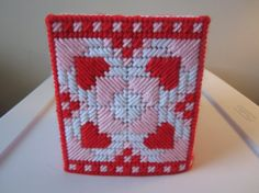 RED & PINK HEARTS Tissue Box Cover for Breast Cancer Awareness Month in Plastic needlepoint by CREATIONSBYJEANNIE